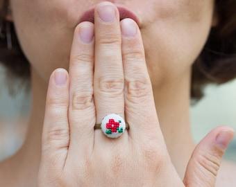 Violet ring, cross stitch romantic ring, r004