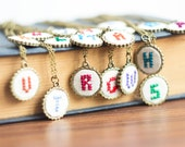Initial necklace, Personalized, hand embroidered, Bridesmaids jewelry, initial jewelry, custom color i001