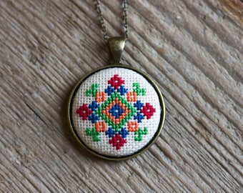 Cross stitch necklace - Ukrainian folk embroidery - Ethnic collection by Skrynka n059