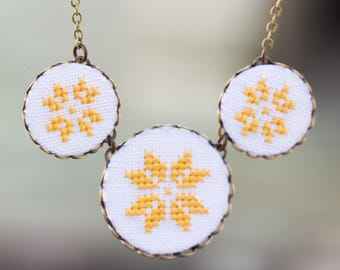 Hand embroidered necklace with cross stitch embroidery n009