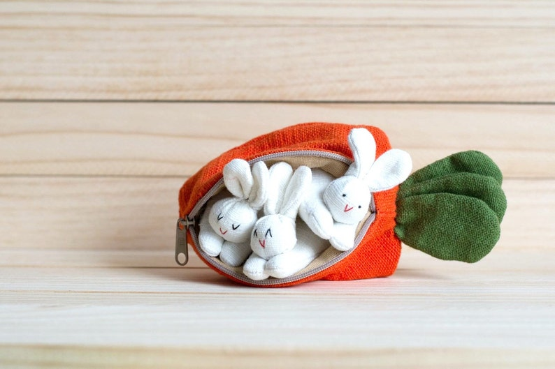 Bunny Family in Carrot Purse image 0