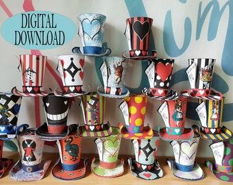 Alice in Wonderland Decoration, Mad Hatter Hats, 3D SVG, for Cricut, Birthday, Tea Party Favor, Printable 20 Mini Top Pattern, Vivid, Bundle