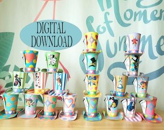Alice in Wonderland Decoration, Mad Hatter Hats, 3D SVG, for Cricut, Tea Party, Printable 20 Mini Top DIY Pattern, Pastel, Birthday, Bundle