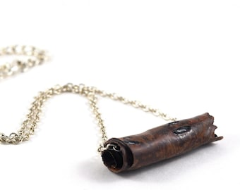 Tube Necklace Bar Necklace Ceramic Pendant Handmade Jewellery Brown Orange on Silver Chain in Handmade Jewellery Bag Made in Australia