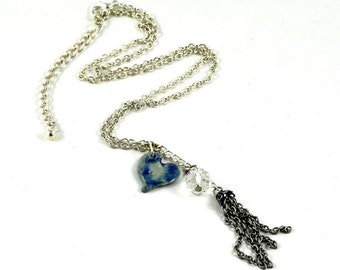 Blue Tassel Necklace Multistrand Charm Focal Heart Ceramic Bead with Crystal Jewellery on Silver Plated  Chain in Jewelry Gift Pouch
