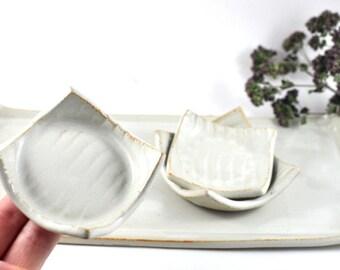 Tapas Sushi Serving Set Cream White Ceramic with Three Condiment Dishes on Tray Handmade Tableware Wedding Decor