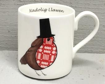 Welsh Lady Tapestry Robin fine bone china Christmas mug with Holly.
