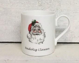 Nadolig Llawen Father Christmas Mug in beautiful white bone china.