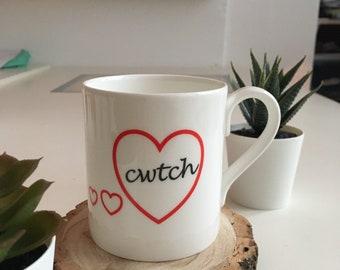 Cwtch heart mug- bone china mug- made in Wales