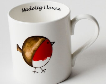 Nadolig Llawen Christmas Robin Mug in beautiul white bone china with glossy red Robin and Welsh words.