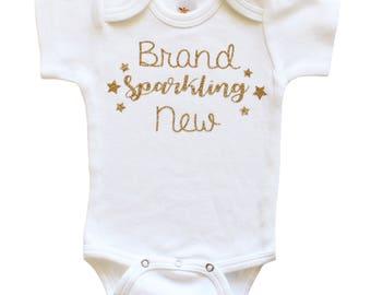 Brand Sparkling New Bodysuit - Glitter Bodysuit- Just Born Baby- Baby Shower Gift- Sparkle Baby Gold Glitter Gold Bodysuit- Take Home Outfit