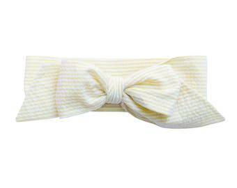 Yellow Seersucker Bow Headband - Infant Headband - Fabric Bow Headband - Baby Headband - Topknot Headband - Toddler Headband Big Bow