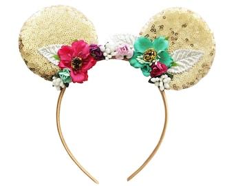 Minnie Ear Headband - Mouse Ear Headband - Gold Sequin Ear Headband - Boho Chic Headband - Toddler Headband - Mouse Ears