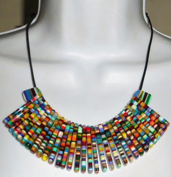 Sobral Magazine Nylon Rainbow Stripe Bead Necklace