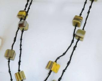 "Sobral Pop Art Popinho Longo Yellow Programado 56"" Necklace Brazil Import"