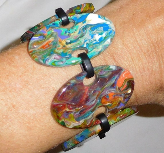Sobral Patchwork Alinhavado Pollock Pattern Bracel