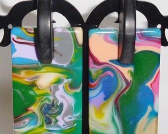 Sobral Geometria Mondrian Swirled Multi Hue Pollock Post Earrings Brazil Import
