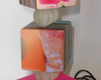 Sobral Pop Art Day Free Moving Triple Stacked Cube Table Lamp Brazil Import
