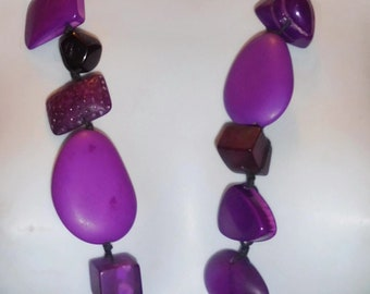 """Sobral 35"""" Long Aventuras Indiana Chunky Purple Artist Made Statement Necklace"""