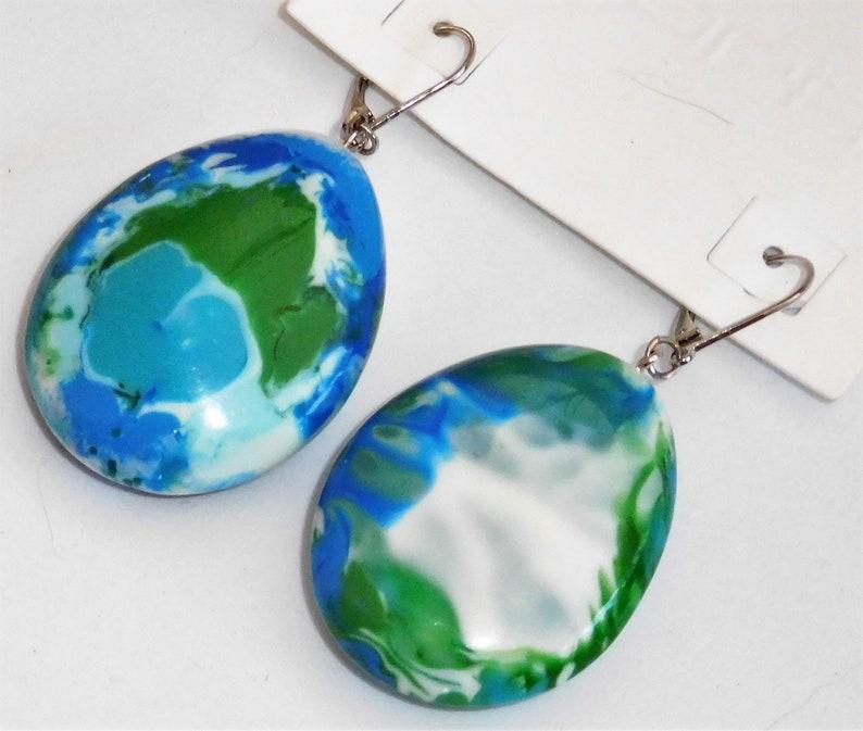 Sobral Gorky Inusitado Blue Green Marbled Dangling Earrings Brazil Import