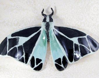 Black and Blue Moth - Ceramic Tiger Moth