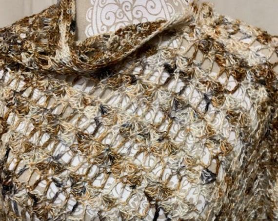 Lacy Copper, Ivory, Chocolate poncho in merino silk