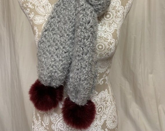 Chunky cozy grey scarf with maroon poms on the ends (NO WOOL)