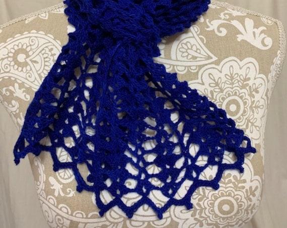 Cobalt Blue Lacy baby merino scarf