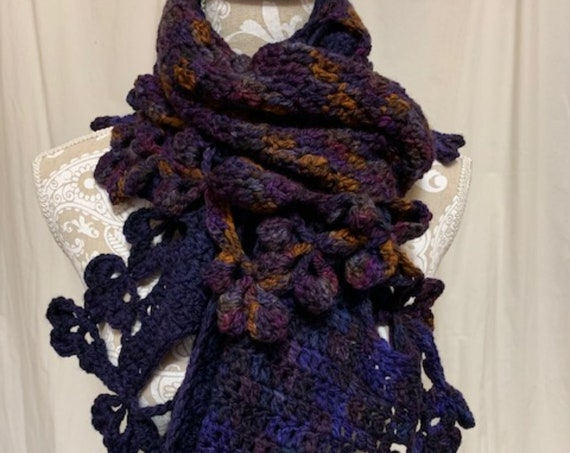 Blue flower edged super scarf/wrap hand dyed in Montana 100% merino