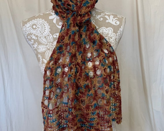 Fall colors alpaca scarf in rust, copper and turquoise blue