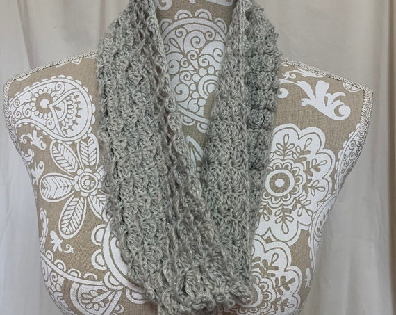 Silver grey cashmere cowl with sparkle