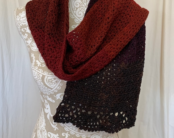 Cool Fall colors scarf with scalloped ruffled ends