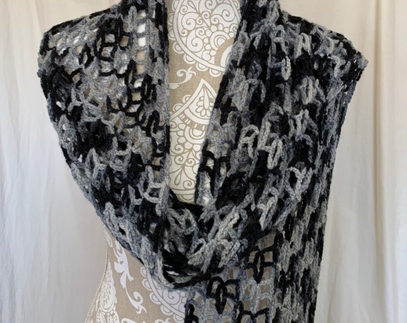 Shades of black and gray lacy merino silk cashmere scarf/superscarf/wrap