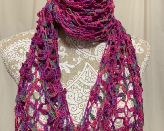 Pink floral wool silk scarf hand dyed in Montana