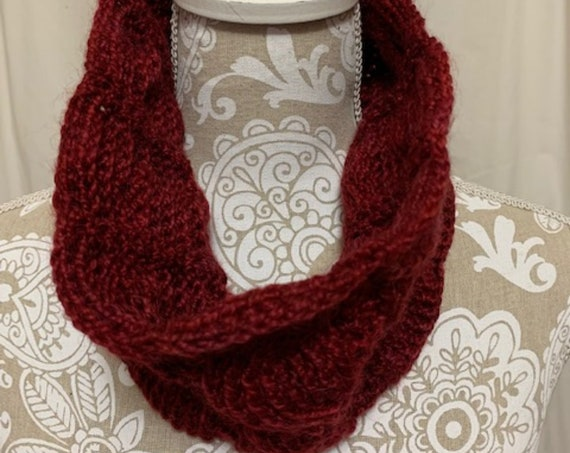 Brick red cabled cowl hand dyed in Montana