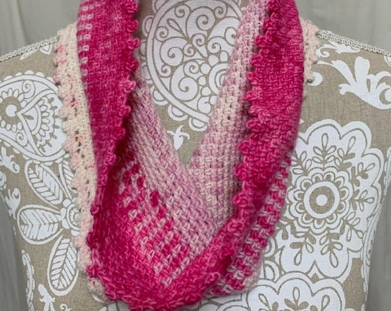 Ivory to bright pink ombre merino cowl