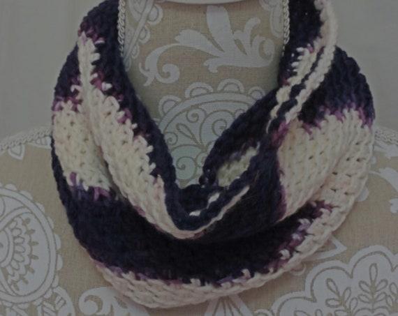 Purple and white merino silk cowl
