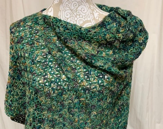Kelly/Teal Green Lightweight Silk and Baby Camel Poncho