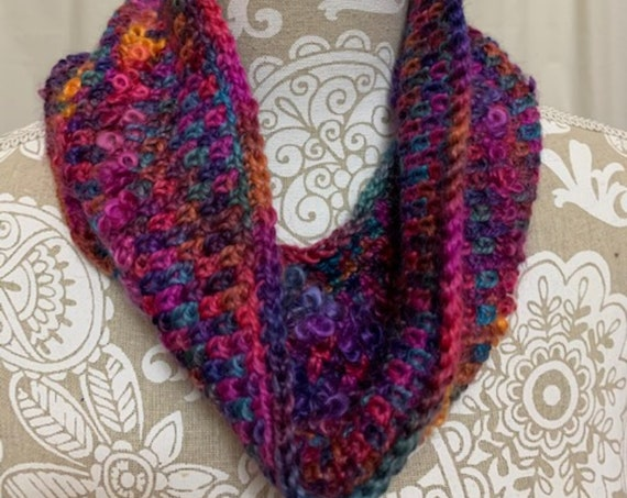 Bright cobalt pink purple and orange cowl hand dyed in Montana