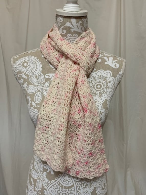 Ivory and pink merino scarf