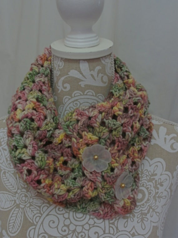 Pink Mint and Yellow button Cowl scarf
