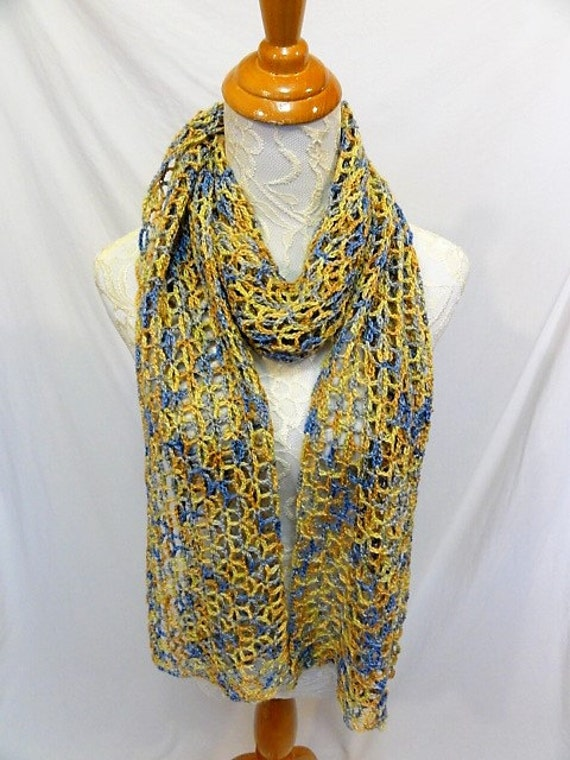 lacy gold blue yellow alpaca silk scarf wrap