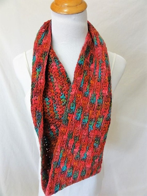 """hand dyed in Montana infinity scarf pink green """"summer"""" merino"""