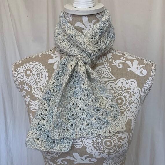 Ivory and light blue baby alpaca silk scarf