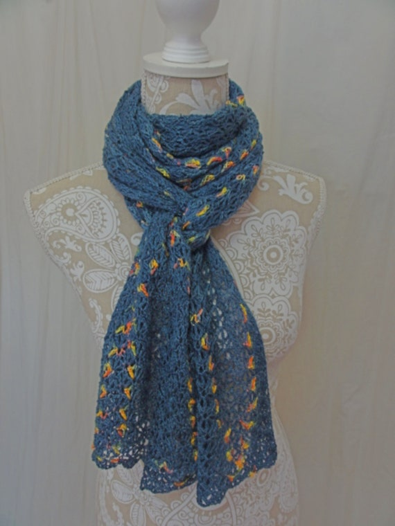Lacy denim blue scarf with pops of yellow pink and green y