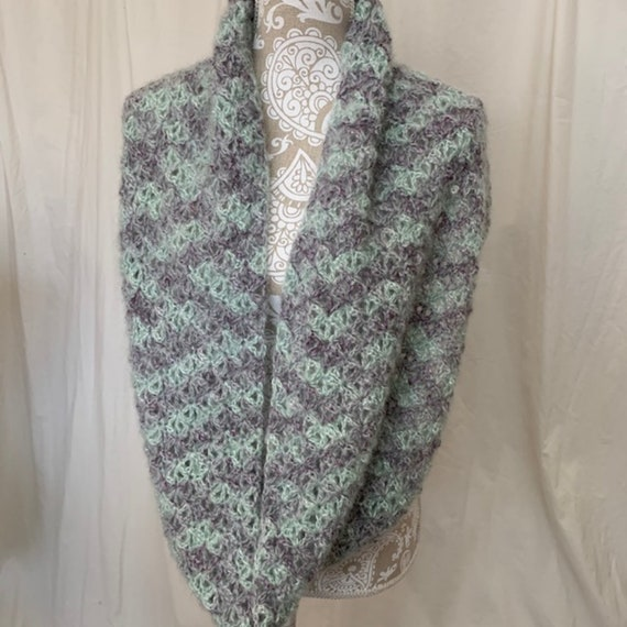Fluffy mint lavender infinity scarf