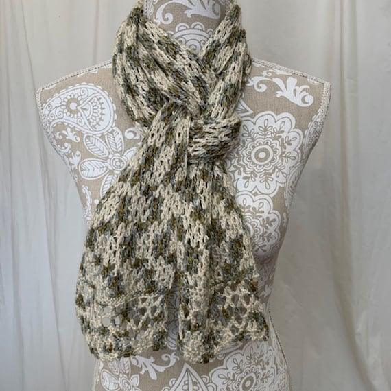 Ivory, olive and light blue cashmere silk scarf