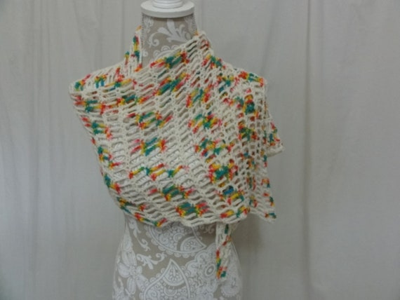 Ivory wool scarf with splashes of bright colors