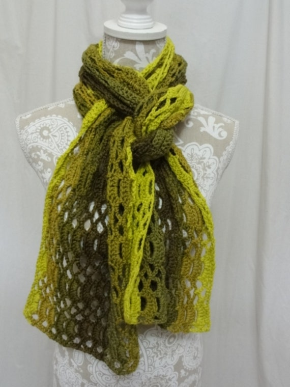 Shades of olive and lime green merino scarf