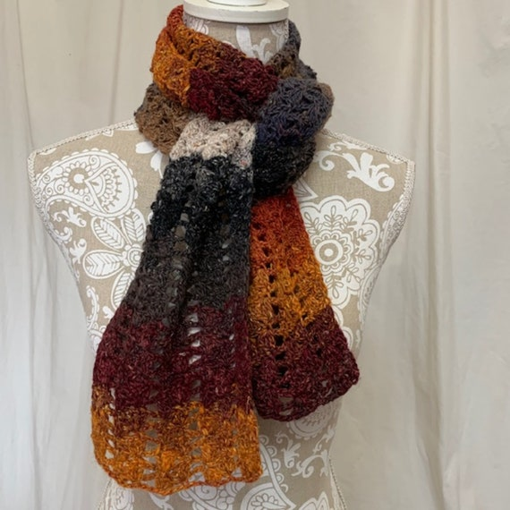Scarf of many colors in wool silk mohair